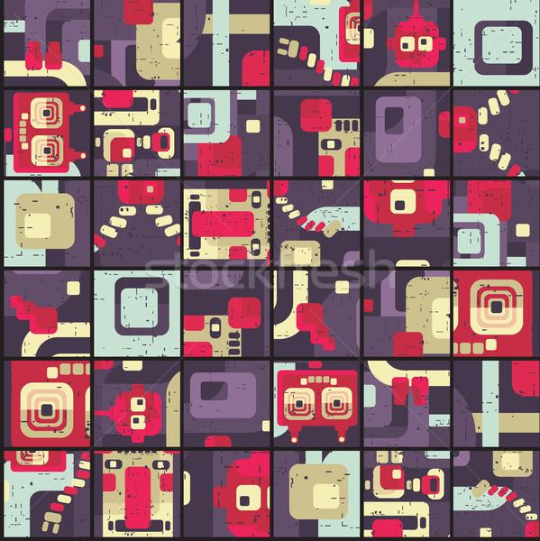 Robot seamless pattern in puzzle Stock photo © ekapanova