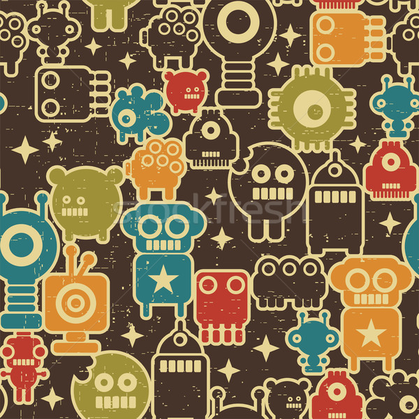 Seamless texture of cute robots on brown. Stock photo © ekapanova