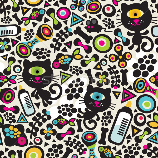 Cute monsters cats seamless pattern.  Stock photo © ekapanova