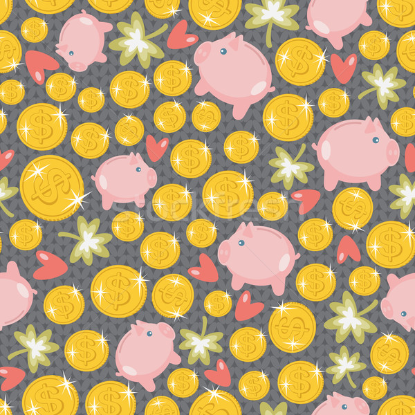 St. Patrick's day seamless pattern with piggy. Stock photo © ekapanova