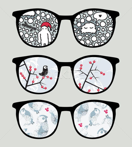 Retro sunglasses with cold winter reflection. Stock photo © ekapanova