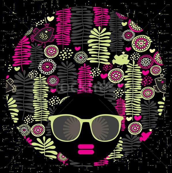 Negro cabeza mujer extrano patrón pelo Foto stock © ekapanova
