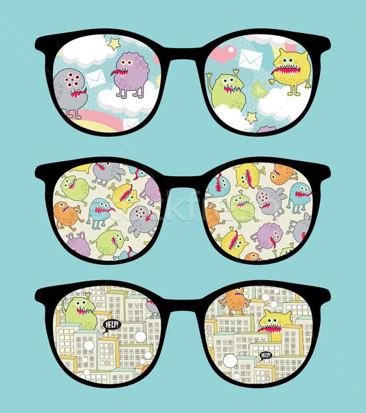 Сток-фото: ретро · Солнцезащитные · очки · Sweet · Монстры · отражение · очки
