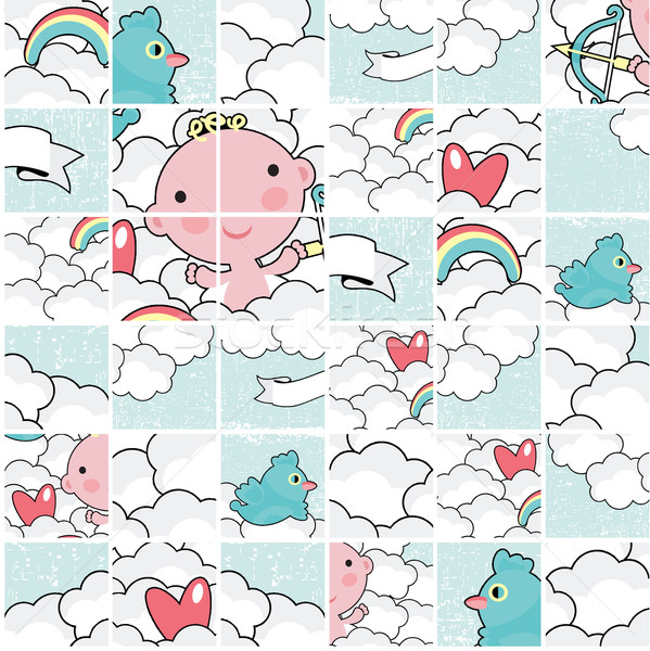 Cute cupid puzzle pattern. Stock photo © ekapanova