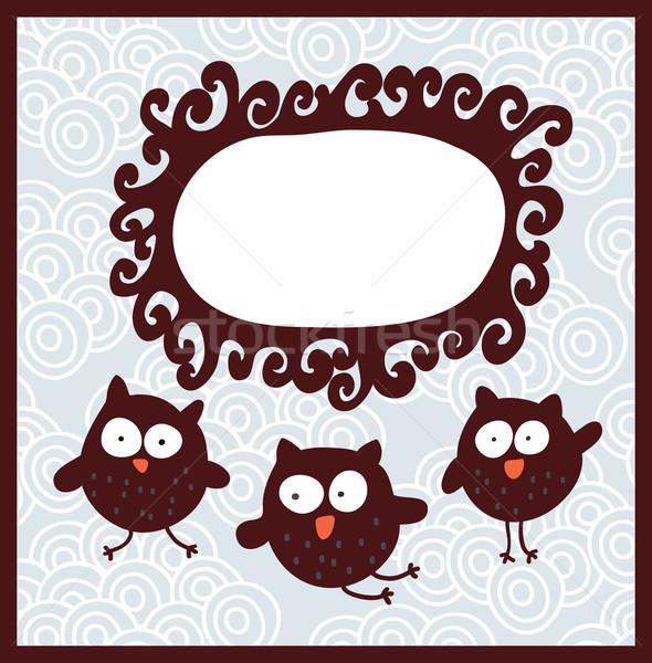 漫画 バナー かわいい フクロウ ベクトル いたずら書き ストックフォト © ekapanova
