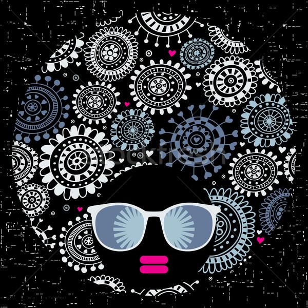 Nero testa donna strano pattern capelli Foto d'archivio © ekapanova