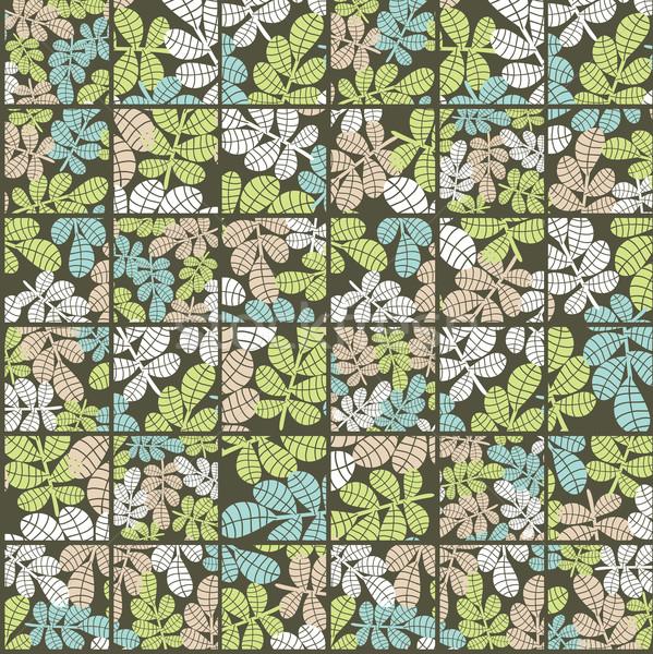 Сток-фото: бесшовный · листьев · трава · ячейку · весны · лес