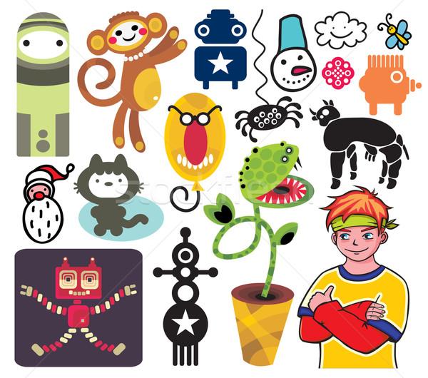 Foto stock: Diferente · vector · iconos · árbol