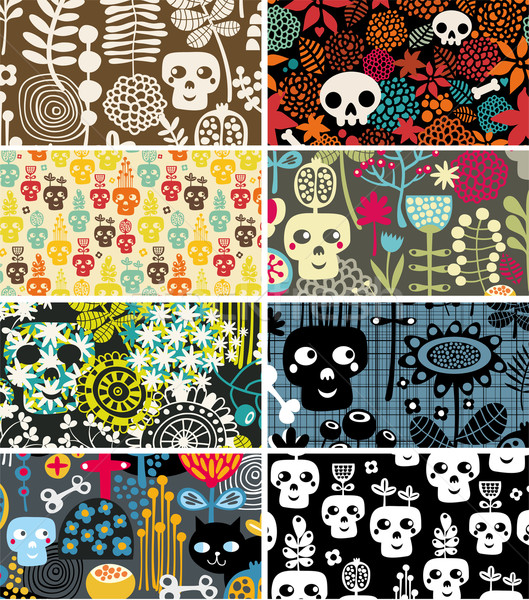 Stock photo: Skulls and flowers cards.