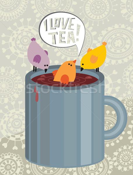 Aves copo chá café projeto fundo Foto stock © ekapanova