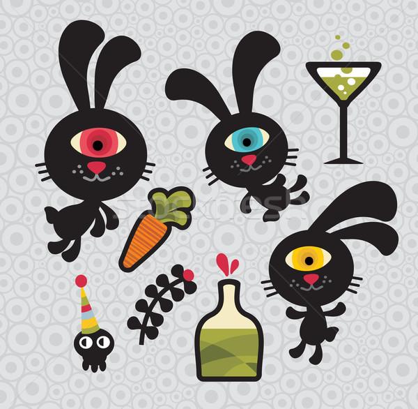Сток-фото: набор · Cute · смешные · Монстры · Кролики · вектора
