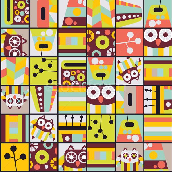 Seamless pattern with cell owls. Stock photo © ekapanova