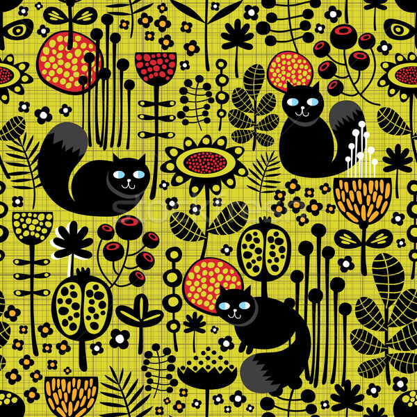 Seamless pattern with black cats. Stock photo © ekapanova
