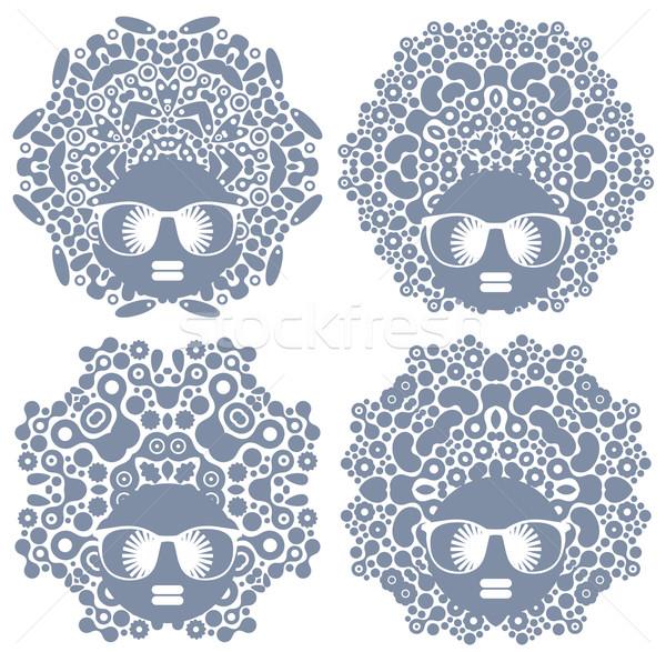 Szett négy fekete fej nők furcsa Stock fotó © ekapanova