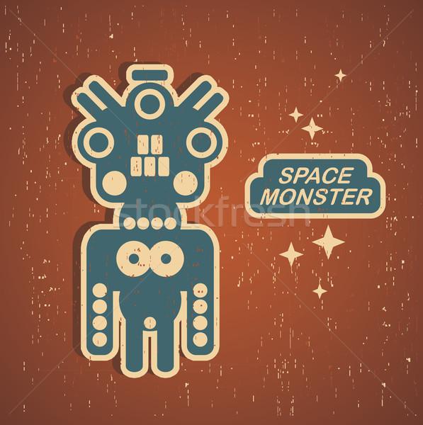 Rétro monstre vintage robot illustration vecteur Photo stock © ekapanova