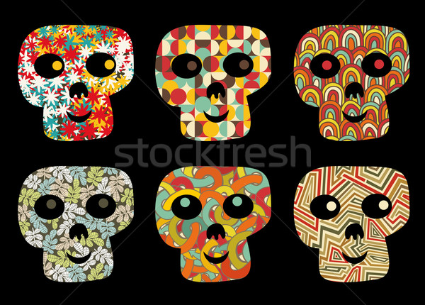 Stock photo: Set of cute and funny skulls.