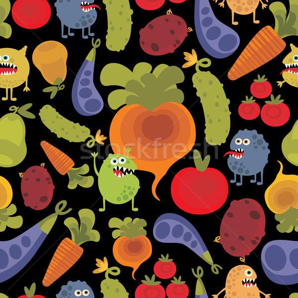 Stock photo: Vegetables and fruits with microbes.