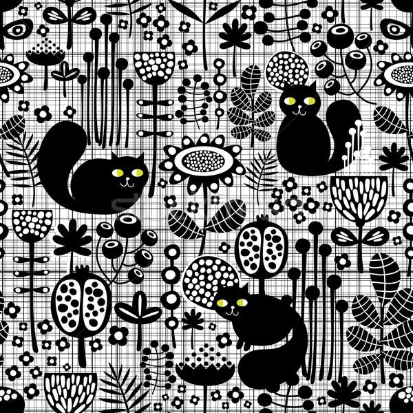 Сток-фото: бесшовный · Cute · черный · кошек · вектора · шаблон