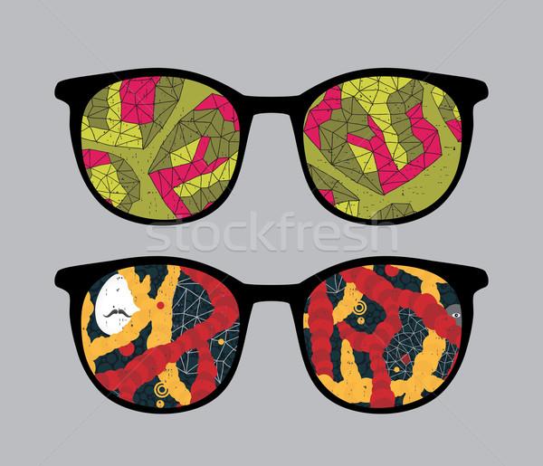 Retro szemüveg absztrakt űr tükröződés izolált Stock fotó © ekapanova