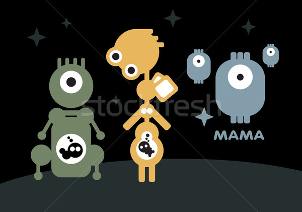 Robots: pregnant and mother with children.  Stock photo © ekapanova