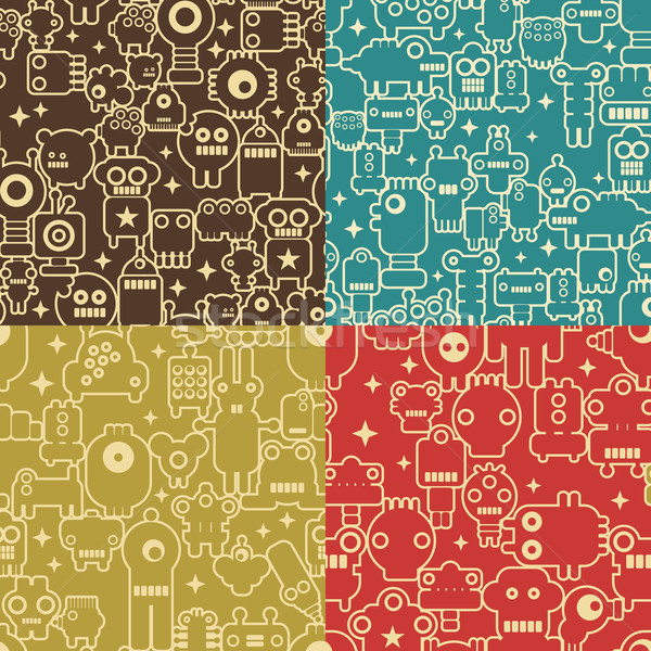 Robot and monsters  four different seamless patterns.  Stock photo © ekapanova