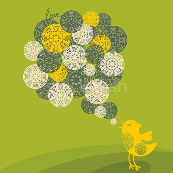 романтические птица песня цветок текстуры улыбка Сток-фото © ekapanova