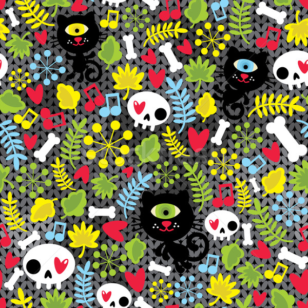 Stock photo: Cute monsters cats and skulls in love.