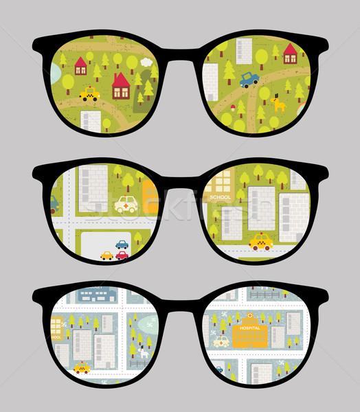 Retro napszemüveg városkép tükröződés szemüveg izolált Stock fotó © ekapanova