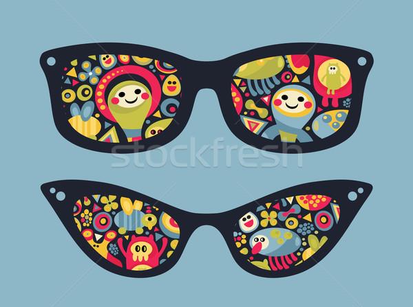 Retro sunglasses with funny party reflection. Stock photo © ekapanova
