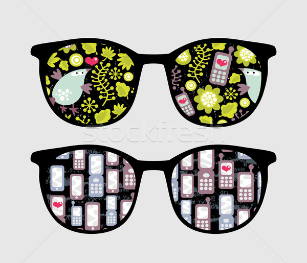 Retro sunglasses with mobile phones reflection. Stock photo © ekapanova