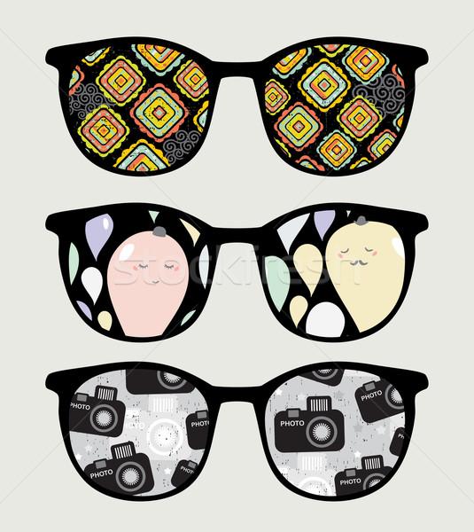 Retro napszemüveg szép tükröződés szemüveg izolált Stock fotó © ekapanova