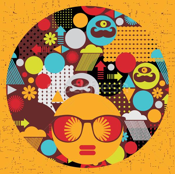 Zwarte hoofd vrouw vreemd patroon haren Stockfoto © ekapanova