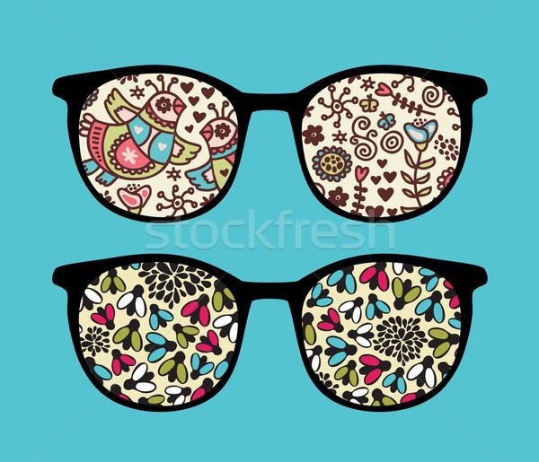 ретро Солнцезащитные очки птиц отражение очки изолированный Сток-фото © ekapanova