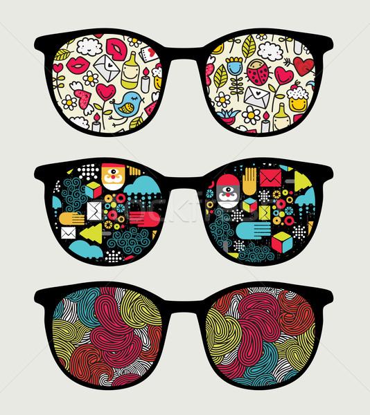 Retro óculos de sol reflexão óculos isolado textura Foto stock © ekapanova