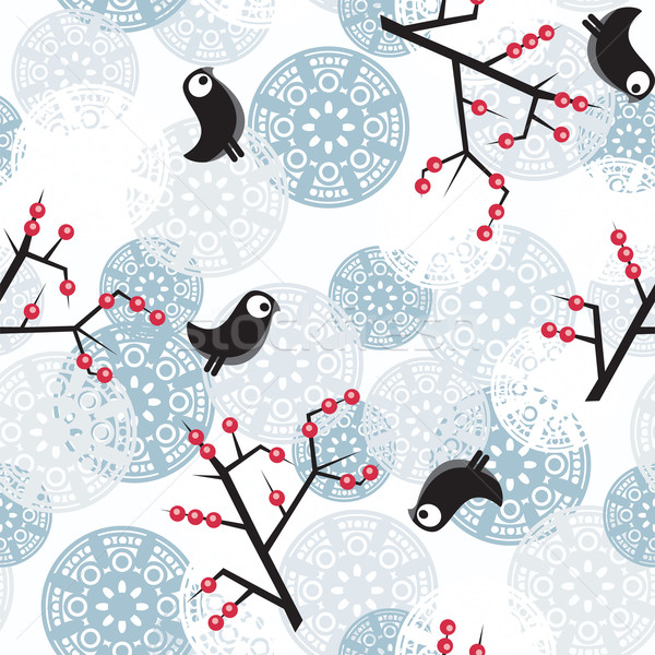 Seamless winter pattern with bush and  birds. Stock photo © ekapanova