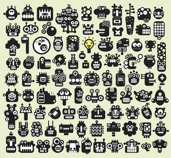 Big set of monsters and robots faces #2.  Stock photo © ekapanova