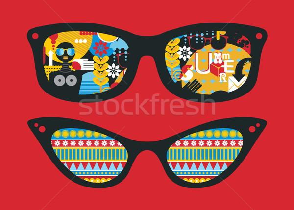 Retro sunglasses with summer reflection in it. Stock photo © ekapanova