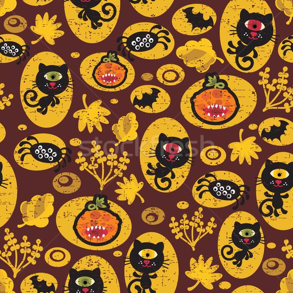 Sem costura halloween textura gato preto vetor padrão Foto stock © ekapanova