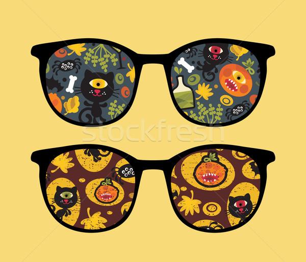 Foto d'archivio: Retro · occhiali · da · sole · halloween · riflessione · party · isolato