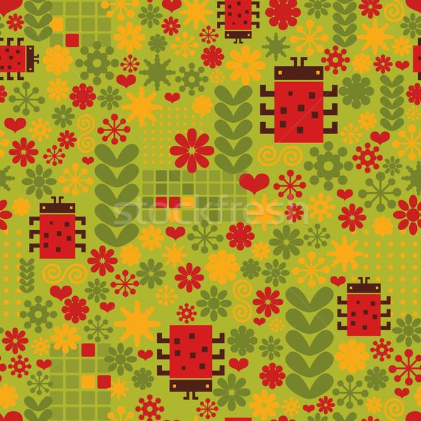 Coccinelle vecteur texture fleurs herbe Photo stock © ekapanova