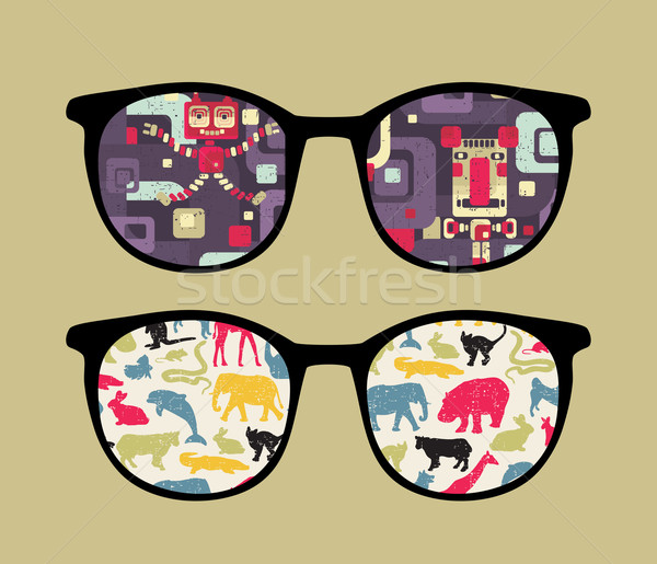 Retro eyeglasses with old school reflection. Stock photo © ekapanova