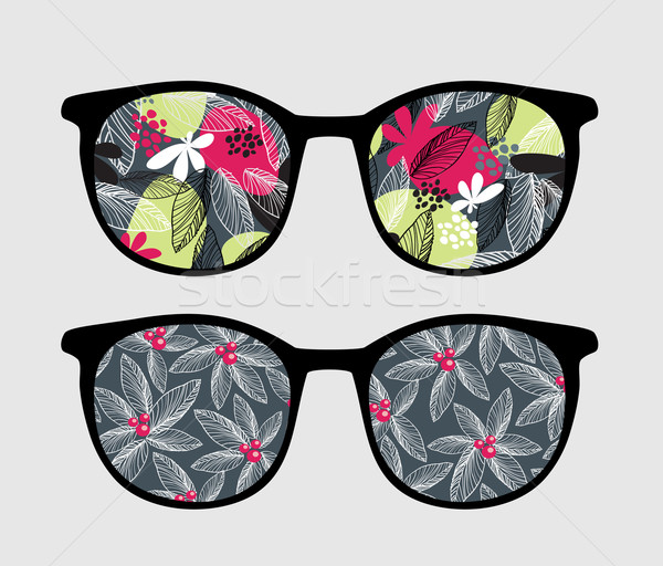 Retro sunglasses with dark flowers reflection. Stock photo © ekapanova