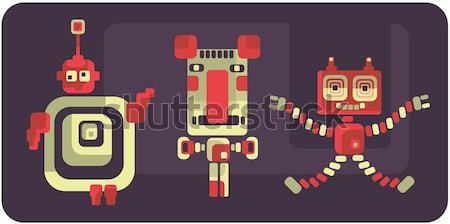 Vintage monster retro robot illustratie vector Stockfoto © ekapanova
