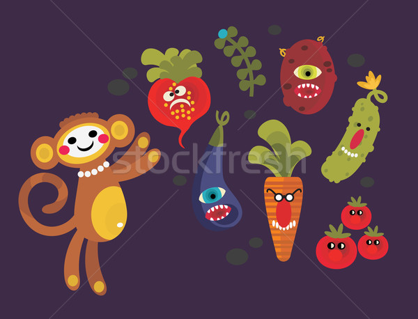 Set of cute vegetables monsters and a monkey.  Stock photo © ekapanova