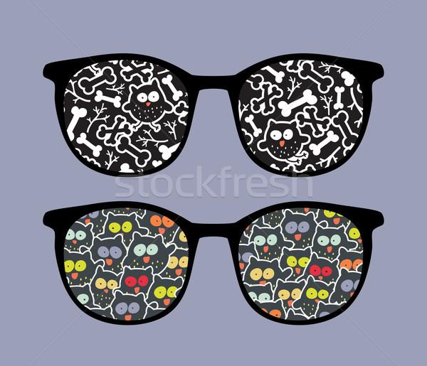 Retro szemüveg őrült baglyok tükröződés izolált Stock fotó © ekapanova