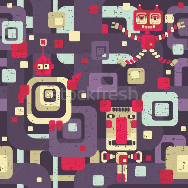 Robot seamless pattern in cartoon style.  Stock photo © ekapanova