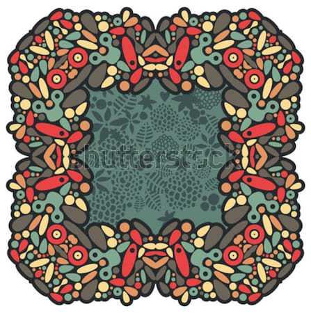 Psicodélico marco vector colorido ilustración garabato Foto stock © ekapanova