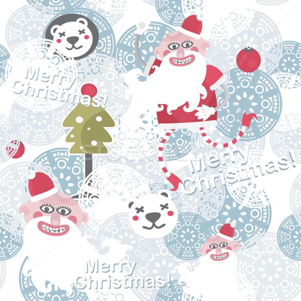 Natale senza soluzione di continuità cute babbo natale vettore pattern Foto d'archivio © ekapanova