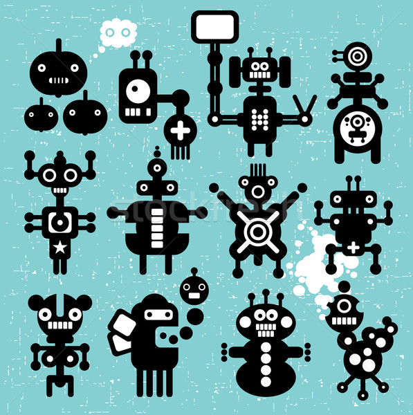 Szörnyek robotok gyűjtemény textúra építkezés alma Stock fotó © ekapanova