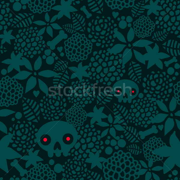 Big skulls and flowers seamless background. Stock photo © ekapanova